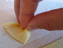 shaping homemade pasta