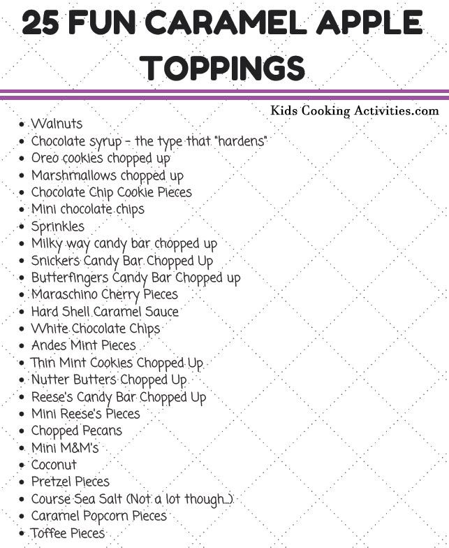 caramel apple recipe and topping list
