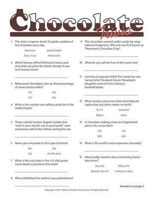 Picnic Party Games: Chocolate Trivia