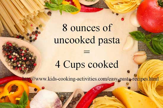 cooked pasta amounts