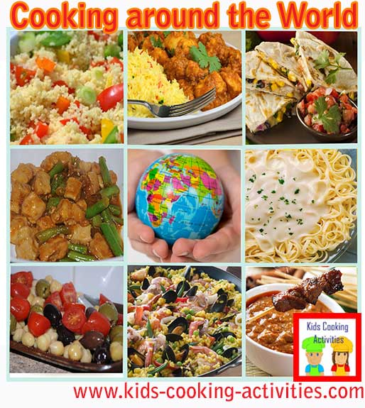 International gourmet recipes for our kids world cooking studies.
