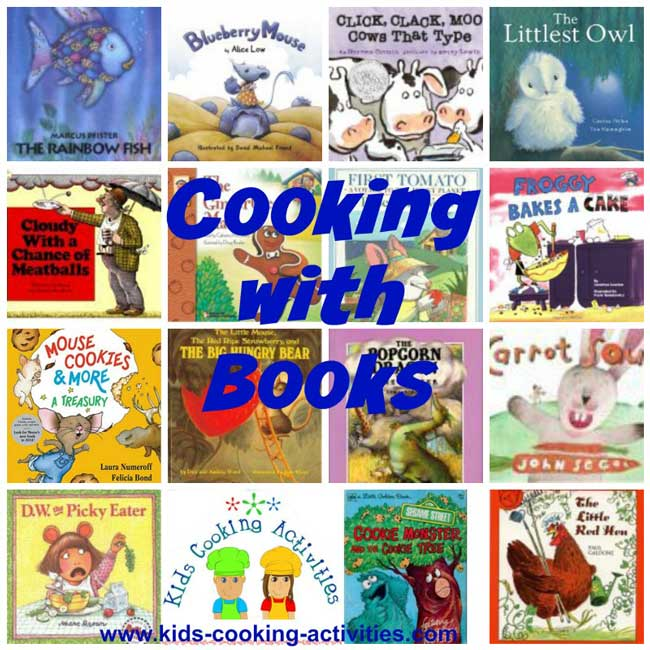 cooking with books collage