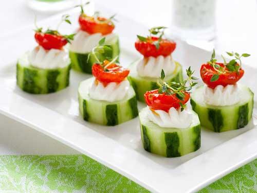 cucumber cups with garnish