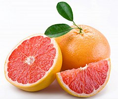 grapefruit cut in half and whole