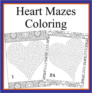 heart mazes coloring