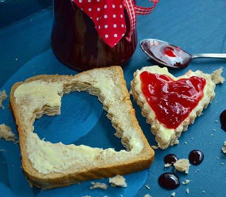 heart toast with red jam