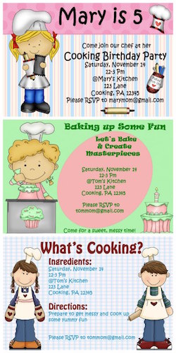 kids cooking party invitation