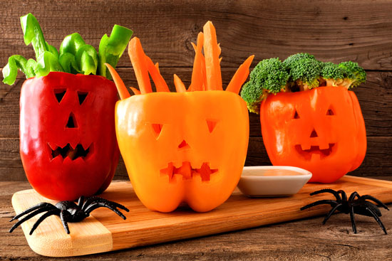 jack o lantern peppers vegetable platter