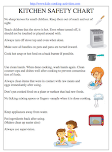 Printables Kitchen Safety Worksheets free kids cooking printables kitchen safety chart for kids