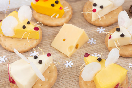 mice cheese and crackers snack