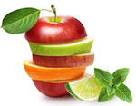 mixed apple orange stacks