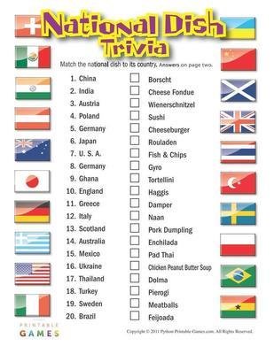 national dish trivia printable game