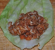 meat mixture in cabbage roll