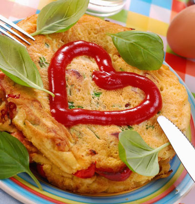 omelet with heart