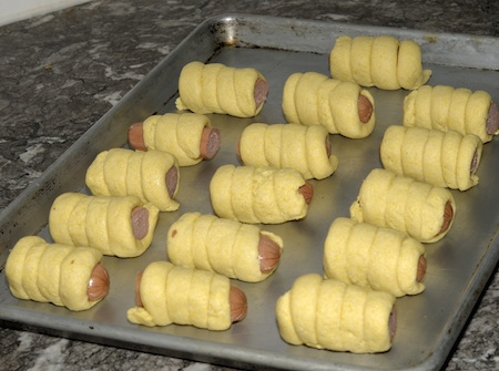 pan of corn dog rollups
