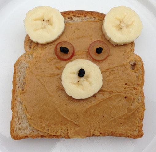 banana peanut butter bear toast