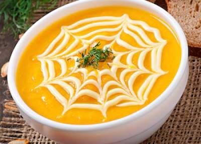 pumpkin soup garnish spider web