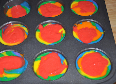 rainbow batter cupcakes