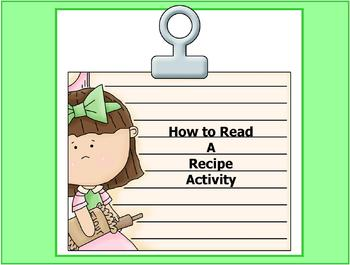 how to read a recipe worksheets