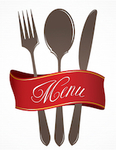 silverware with menu sign