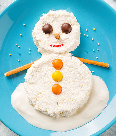 cottage cheese snowman