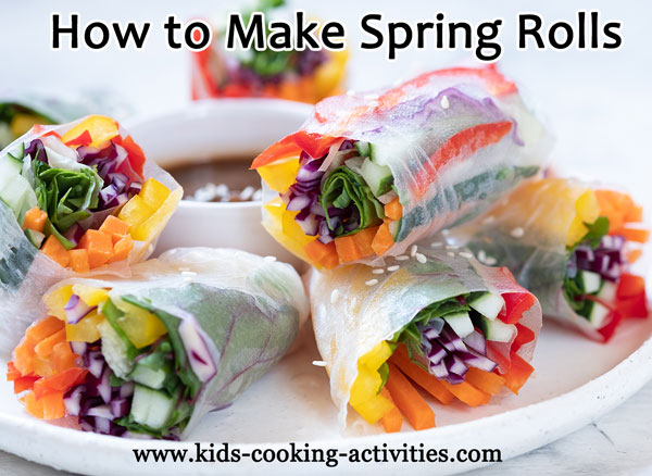 rainbow colored spring rolls