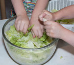 tearing lettuce and making a salad