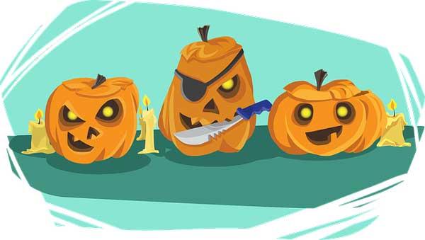 three pumpkins halloween