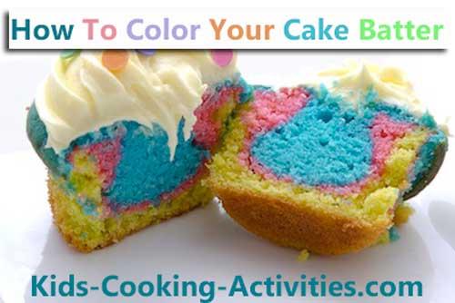 coloring cake batter cupcakes