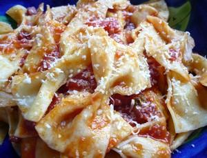 homemade bow tie pasta dish