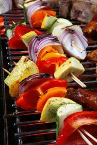 grilled vegetables on skewer