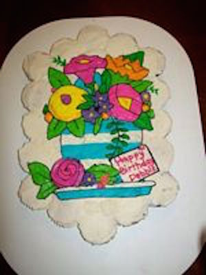 flowers painted cupcake cake