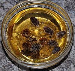 raisins in sparkling juice
