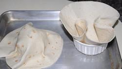 tortilla bowl with tin foil