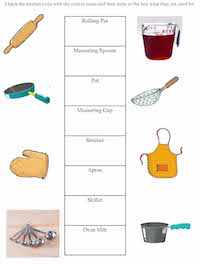 kitchen tools worksheet