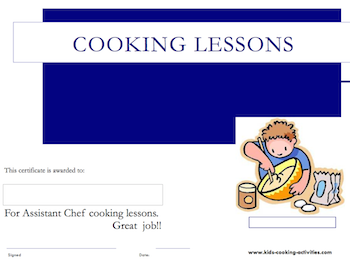 cooking certificate printables