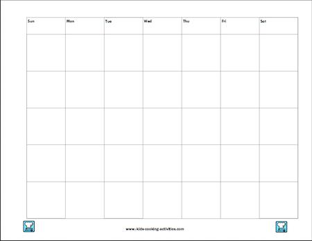 menu calendar printable