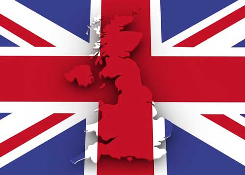 Great Britian map and flag