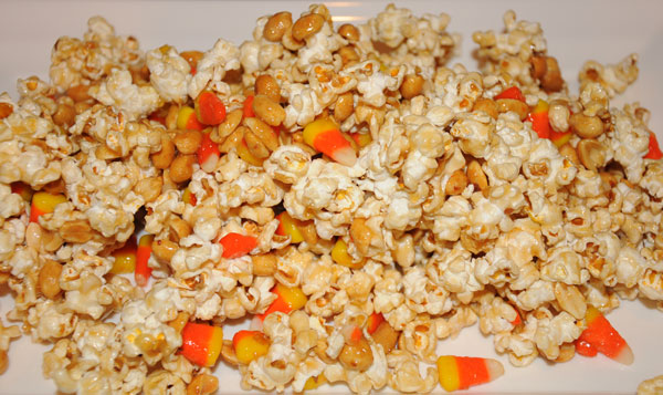 caramel popcorn with candy corn and peanuts