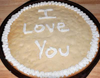 cookie cake with wording