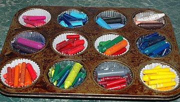 making muffin crayons