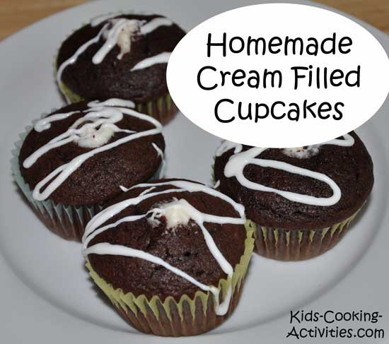 homemade cream filled cupcakes