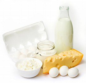 graphic of dairy products including cheese, milk carton