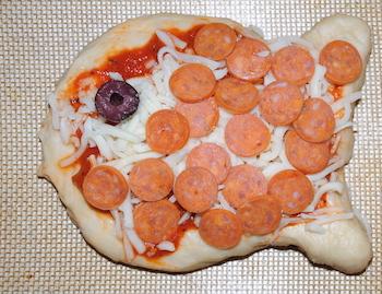 fish pizza prep
