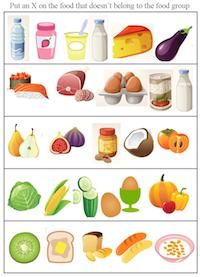 food groups worksheet