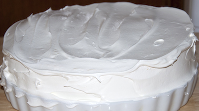 ice cream cake frosted with cool whip