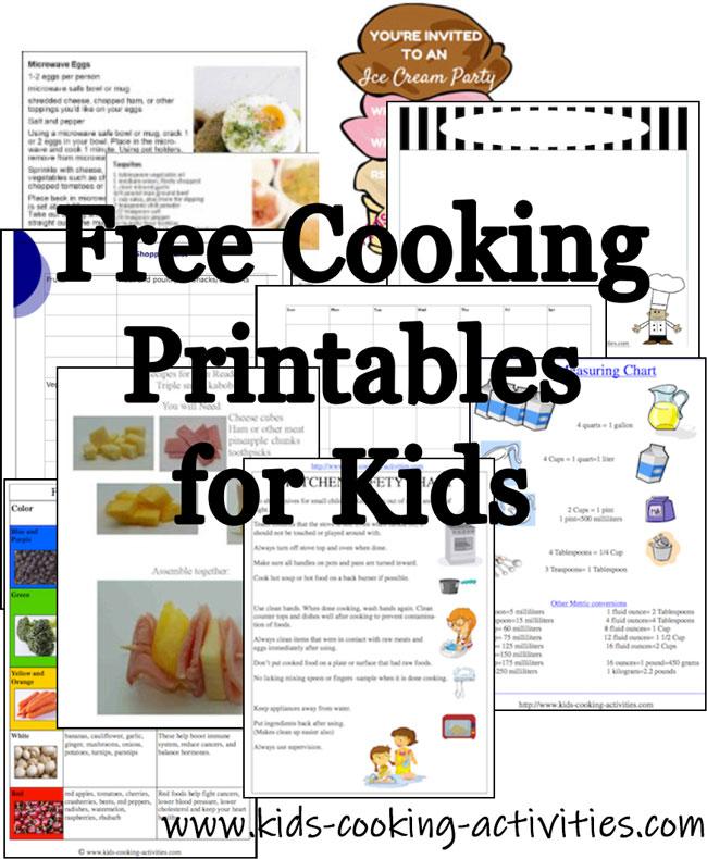 kids cooking printables