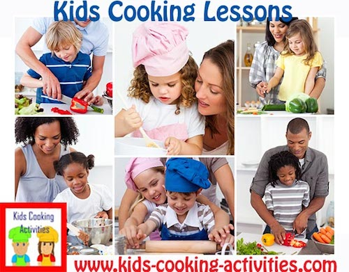 kids cooking lessons collage