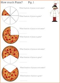 pizza fraction worksheets
