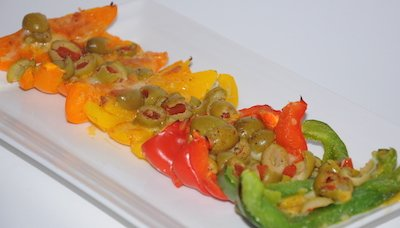 rainbow of peppers dish